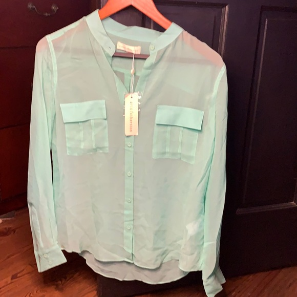 New Erin Fetherston sheer blouse XS 100% silk